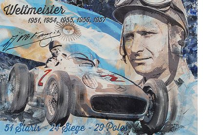 Mercedes Juan Manuel Fangio Pop Art von Bernd Luz
