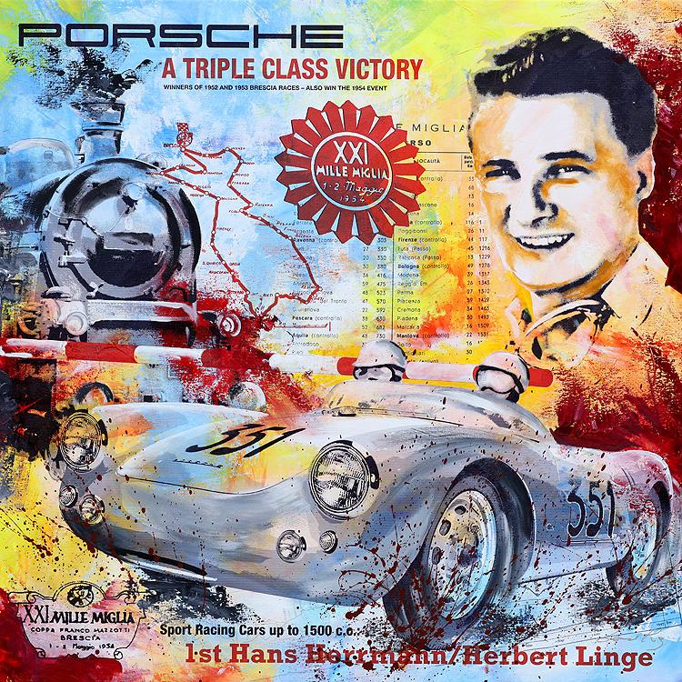 Hans Herrmann Mille Miglia 1954 - PopArt von Bernd Luz
